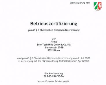 Betriebszertifizierung gemäß § 6 Chemikalien-Klimaschutzverordnung
